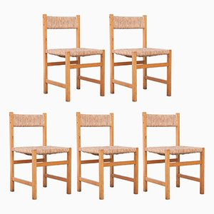 Spanish Formalist Rattan Chairs, 1950s, Set of 5