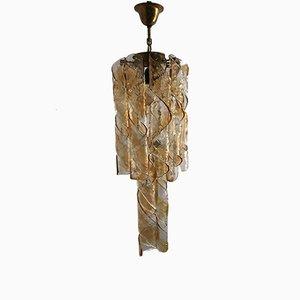 Lustre Spiral Mid-Century en Verre Murano par Gino Vistosi