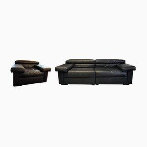 Modell Erasmo Leder Sofa & Sessel von Tobia & Afra Scarpa für B&B Italia, 1980er