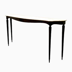 Console Table in Ebonized Wood with Pink Marble Top, 1950s