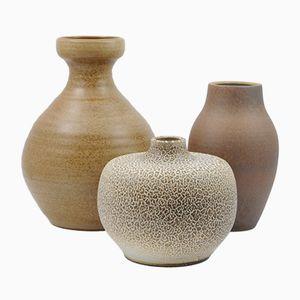 Mid-Century Brown Glazed Ceramic Vases, Set of 3