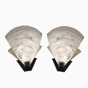 Mid-Century Murano Glas Tischlampen, 2er Set