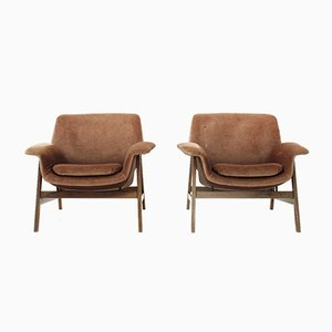 Fauteuils 849 en Velours par Gianfranco Frattini pour Cassina, 1950s, Set de 2