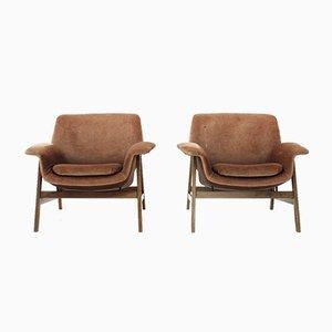 Velvet 849 Armchairs by Gianfranco Frattini for Cassina, 1950s, Set of 2