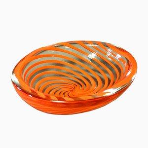Cuenco Mid-Century de vidrio con espirales rojas de Carlo Scarpa for Venini