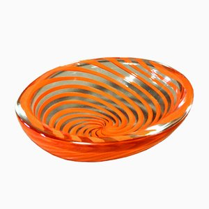 Mid-Century Glass Bowl with Red Swirls by Carlo Scarpa for Venini
