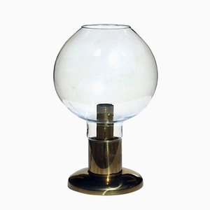 Hollywood Regency Blown Glass & Brass Table Lamp, 1970s