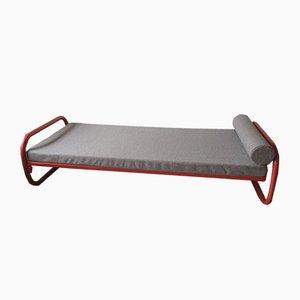 Dormeuse Mid-Century in acciaio tubolare rosso, anni '60