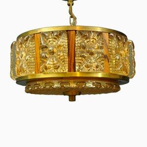 Lámpara colgante de vidrio de Orrefors, años 60
