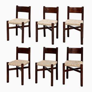 Meribel Stühle von Charlotte Perriand für Georges Blanchon, 1950er, 6er Set