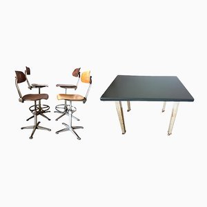 Industrial Chairs and Table by Friso Kramer for Ahrend de Cirkel, 1950s