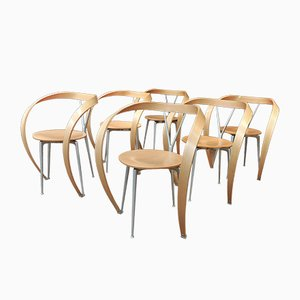Armchairs in Curved Beech and Metal from Cassina, 1980s, Set of 6
