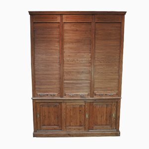Cabinet in Fir with Tambours & Sliding Doors, 1900s