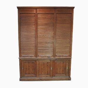 Cabinet in Fir with Tambours & Sliding Doors, 1900s