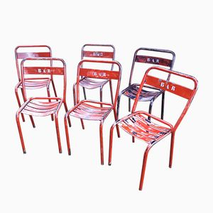 Stackable Red Iron Bistro Chairs, 1950s, Set of 6