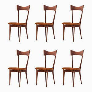 Italian Leather and Mahogany Dining Chairs by Ico & Luisa Parisi, 1950s, Set of 6