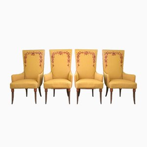 Embroidered Yellow Lounge Chairs by Pierluigi Colli, 1950s, Set of 4