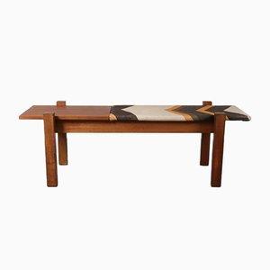 Banco de teca con mesa auxiliar integrada, años 60