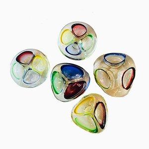 Ceniceros italianos de cristal de Murano, años 60. Juego de 5