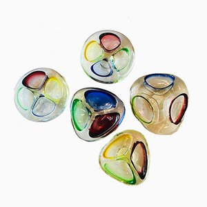 Italian Murano Glass Ashtrays, 1960s, Set of 5