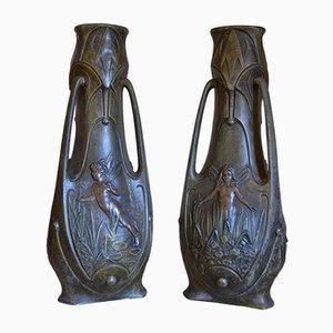 Vases Art Nouveau par Jean Garnier, 1898, Set de 2