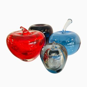 Italian Murano Glass Apples, Set of 4