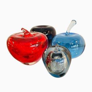 Manzanas italianas de cristal de Murano. Juego de 4