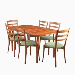Tavolo da pranzo con sei sedie di Haslev Møbelsnedkeri, anni '70