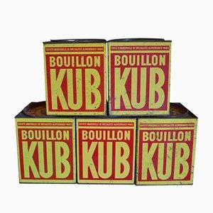 Grandes Boîtes Publicitaires KUB en Métal, 1940s, Set de 5