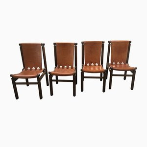Italian Cognac Leather & Wooden Chairs from La Permanente Mobili Cantù, 1950s, Set of 4