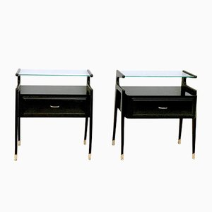 Nightstands in Ebonized Wood with Glass Top, 1950s, Set of 2