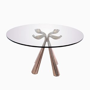 Glass & Chromed Dining Table by Vittorio Introini for Saporiti Italia, 1970s