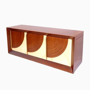 Quarter Moon Sideboard in Palisander & Goatskin by Luciano Frigerio, 1970s