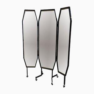 Espejo tríptico italiano independiente con ruedas de Vetreria Bruno, años 60