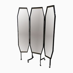 Italian Triptych Freestanding Mirror on Wheels from Vetreria Bruno, 1960s
