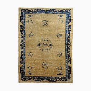 Antiker chinseischer Teppich in Blau & Weiß, 1870er