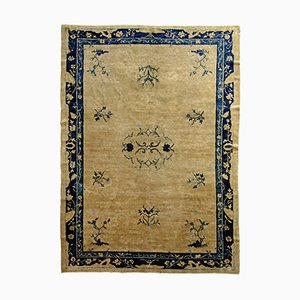 Antique Chinese Blue & White Rug, 1870s