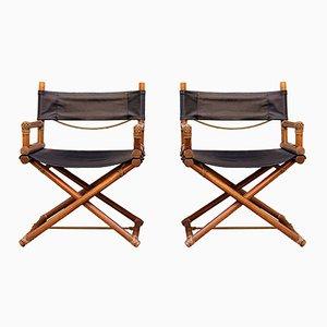 Italian Oak Wood Director's Chairs, Set of 2, 1970s
