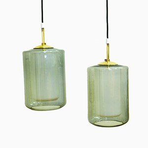 Norwegian Smoked Glass Pendants by Jonas Hidle for Høvik, 1965, Set of 2