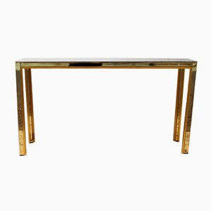 Italian Brass Console Table with Smoked Glass, 1980s