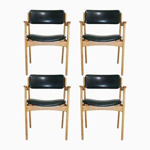 Eichenholz Armlehnstühle von Erik Buch für O.D. Møbler, 4er Set