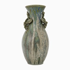 Jarrón danés vintage de cerámica con hojas de Arne Bang