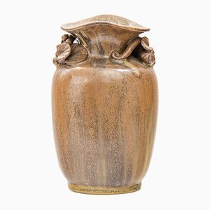 Vaso vintage in ceramica con foglie di Arne Bang