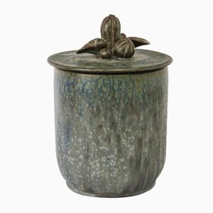 Vintage Ceramic Lidded Box with Foliage Decor by Arne Bang
