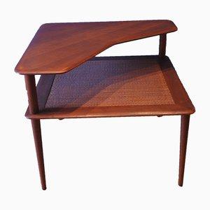 Tavolino da caffè Minerva in teak e vimini di Peter Hvidt per France & Son