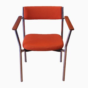 Mid-Century Chrome Armchair with Orange Upholstery from Antocks Lairn