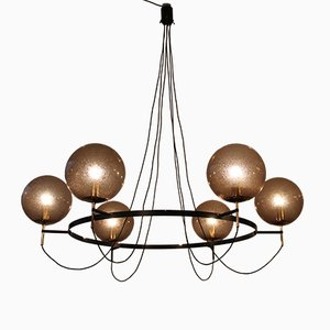 Large Chandelier with Glass Globes from Limburg, 1960s