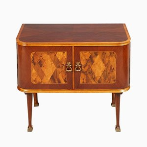 Mid-Century Art Deco Walnut & Burl Inlaid Nightstands from Consorzio Esposizione Mobili Cantù, Set of 2