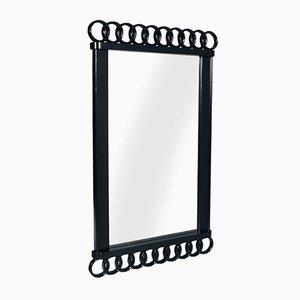 Espejo Art Déco lacado en negro, años 30