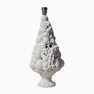 Italian White Ceramic Fruit Basket Lamp, 1970s